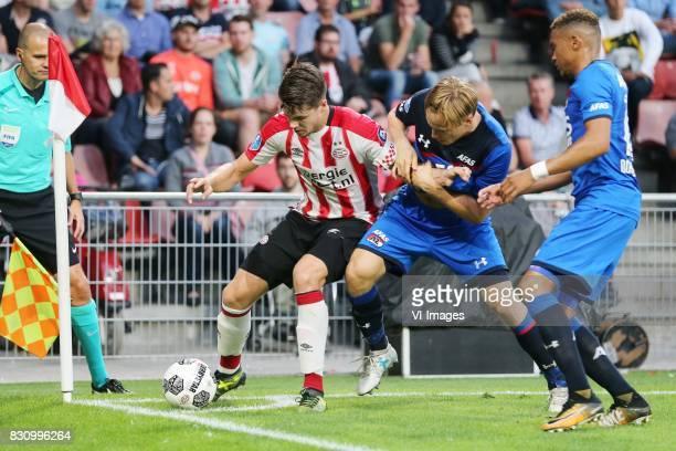 Marco van Ginkel of PSV Jonas Svensson of AZ Dabney dos Santos of AZ during the Dutch Eredivisie match between PSV Eindhoven and AZ Alkmaar at the...