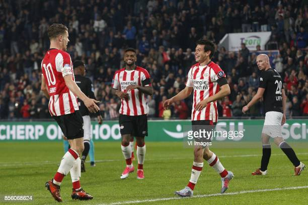 Marco van Ginkel of PSV Jurgen Locadia of PSV Hirving Lozano of PSV Elmo Lieftink of Willem II during the Dutch Eredivisie match between PSV...