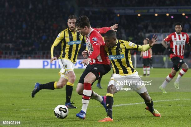 Marco van Ginkel of PSV Kelvin Leerdam of Vitesseduring the Dutch Eredivisie match between PSV Eindhoven and Vitesse Arnhem at the Phillips stadium...