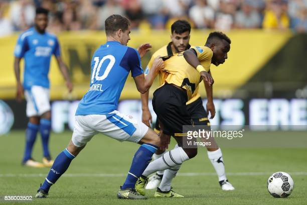 Marco van Ginkel of PSV Mounir El Allouchi of NAC Breda Thierry Ambrose of NAC Breda during the Dutch Eredivisie match between NAC Breda and PSV...