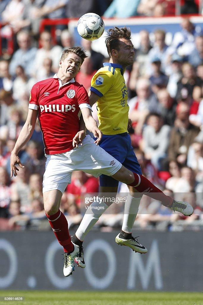 , Marco van Ginkel of PSV, Xander Houtkoop of SC Cambuur during the Dutch Eredivisie match between PSV Eindhoven and SC Cambuur Leeuwarden at the Phillips stadium on May 01, 2016 in Eindhoven, The Netherlands