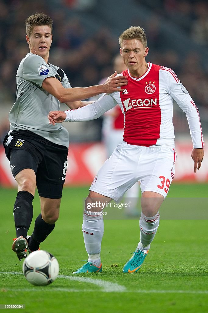 Marco van Ginkel of Vitesse, Viktor Fischer of Ajax during the Dutch Eredivisie match between Ajax Amsterdam and Vitesse Arnhem at the Amsterdam Arena on November 3, 2012 in Amsterdam, The Netherlands.