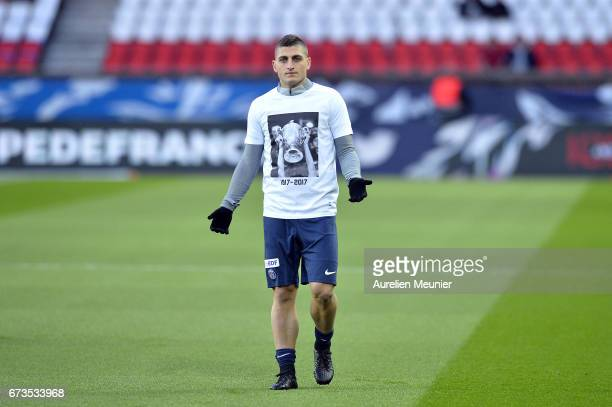 Marco Varretti of Paris SaintGermain reacts during warmup before the French Cup SemiFinal match between Paris SaintGermain and As Monaco at Parc des...