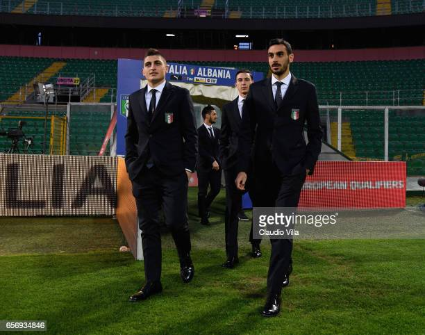 Marco Verratti and Davide Zappacosta of Italy look on during the Italy pitch inspetcion at Stadio Renzo Barbera on March 23 2017 in Palermo Italy