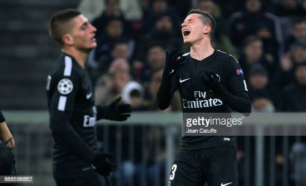 Marco Verratti and Julian Draxler of PSG during the UEFA Champions League group B match between Bayern Muenchen and Paris SaintGermain at Allianz...