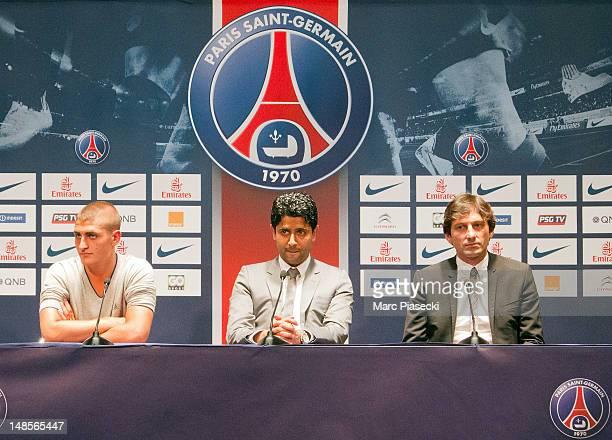 Marco Verratti attends a press conference with Paris SaintGermain chairman Nasser AlKhelaifi and PSG's sporting director Leonardo as Verratti signs...