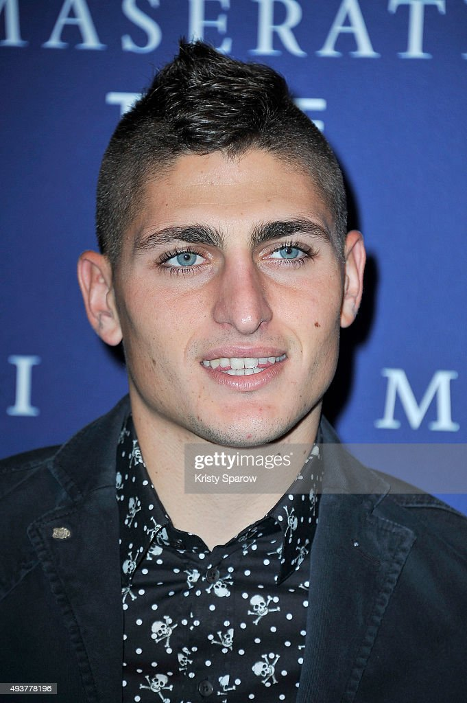 <a gi-track='captionPersonalityLinkClicked' href=/galleries/search?phrase=Marco+Verratti&family=editorial&specificpeople=7256509 ng-click='$event.stopPropagation()'>Marco Verratti</a> attends the 'Maserati Time' Cocktail Party at Rond Point Des Champs Elysees on October 22, 2015 in Paris, France.