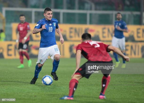 Marco Verratti during the match to qualify for the Football World Cup 2018 between Italia v Albania in Palermo on March 24 2017