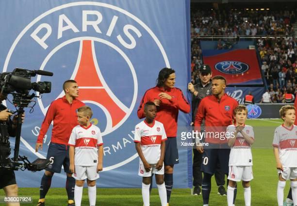 Marco Verratti Edinson Cavani and Neymar Jr of Paris SaintGermain before the French Ligue 1 match between Paris Saint Germain and Toulouse FC at Parc...