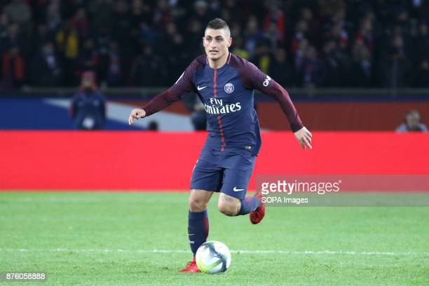 Marco Verratti in action during the French Ligue 1 soccer match between Paris Saint Germain and FC Nantes at Parc des Princes