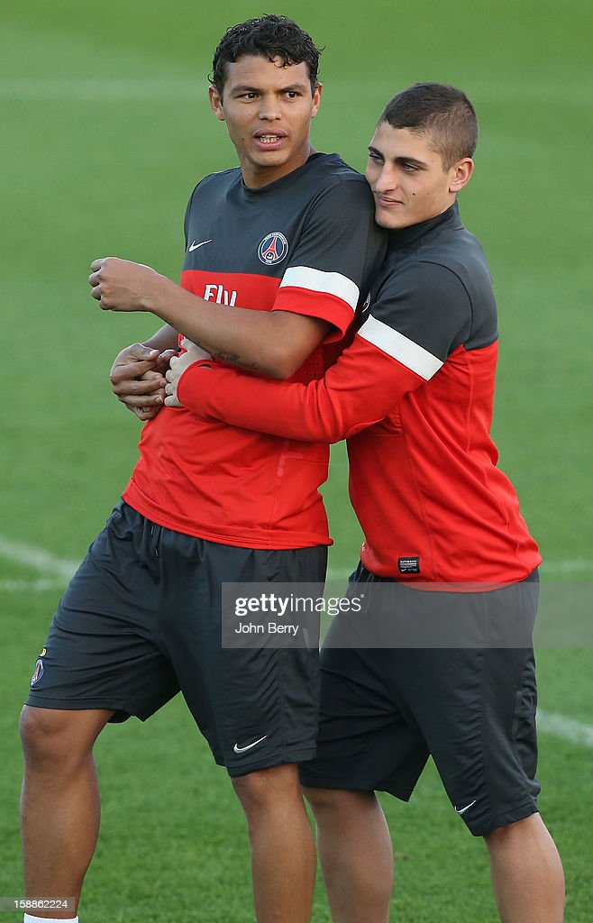 Marco Verratti is very affectionate with Thiago Silva of PSG during the Paris Saint-Germain training session at the Aspire Academy for Sports Excellence on January 1, 2013 in Doha, Qatar.