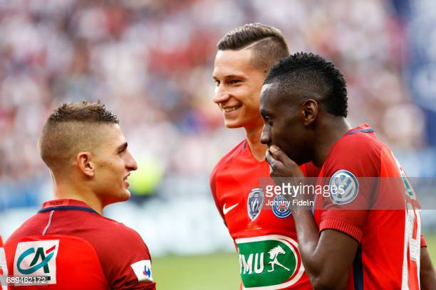Marco Verratti Julian Draxler and Blaise Matuidi of Paris Saint Germain before the National Cup Final match between Angers SCO and Paris Saint...
