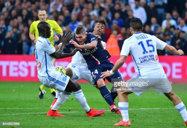 Marco VERRATTI / Mario LEMINA / Rod FANNI / Jeremy MOREL Marseille / Paris Saint Germain 31eme journee de Ligue 1 Photo Dave Winter / Icon Sport