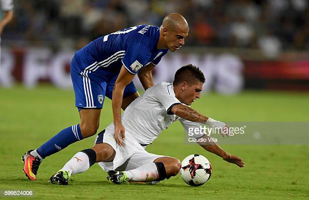 Marco Verratti of Italy and Ben Chaim of Israel compete for the ball during the FIFA 2018 World Cup Qualifier between Israel and Italy at Itztadion...