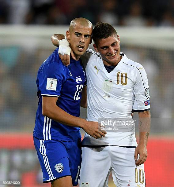 Marco Verratti of Italy and Ben Chaim of Israel during the FIFA 2018 World Cup Qualifier between Israel and Italy at Itztadion Sammy Ofer on...
