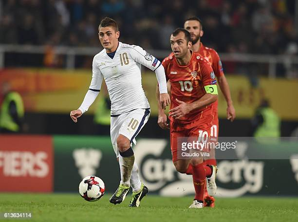 Marco Verratti of Italy and Goran Pandev of FYR Macedonia compete for the ball during the FIFA 2018 World Cup Qualifier between FYR Macedonia and...