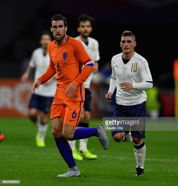 Marco Verratti of Italy and Kevin Johannes Willem Strootman of Netherlands look on during the international friendly match between Netherlands and...