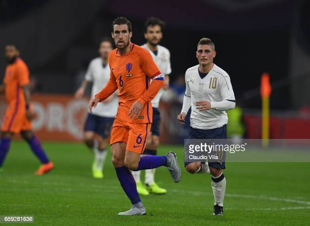 Marco Verratti of Italy and Kevin Strootman of Netherlands in action during the international friendly match between Netherlands and Italy at...