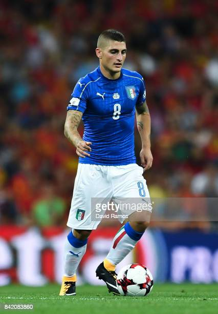 Marco Verratti of Italy controls the ball during the FIFA 2018 World Cup Qualifier between Spain and Italy at Estadio Santiago Bernabeu on September...