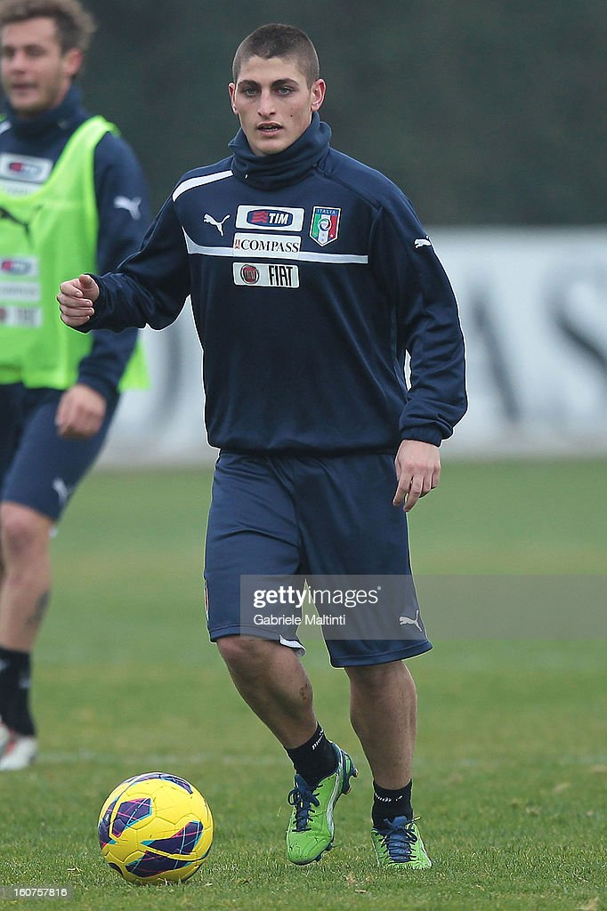 Marco Verratti of Italy during a training session at Coverciano on February 5, 2013 in Florence, Italy.