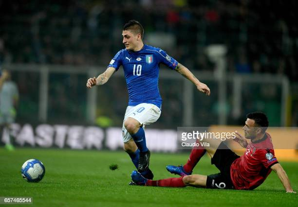 Marco Verratti of Italy in action during the FIFA 2018 World Cup Qualifier between Italy and Albania at Stadio Renzo Barbera on March 24 2017 in...