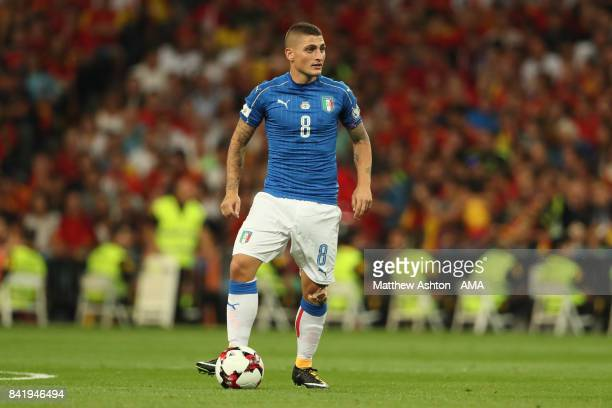 Marco Verratti of Italy in action during the FIFA 2018 World Cup Qualifier between Spain and Italy at Estadio Santiago Bernabeu on September 2 2017...