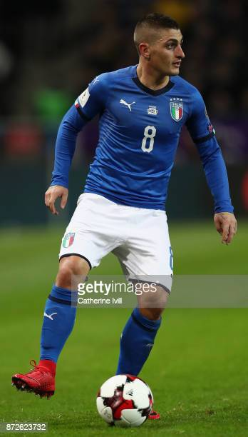 Marco Verratti of Italy in action during the FIFA 2018 World Cup Qualifier PlayOff First Leg between Sweden and Italy at Friends arena on November 10...