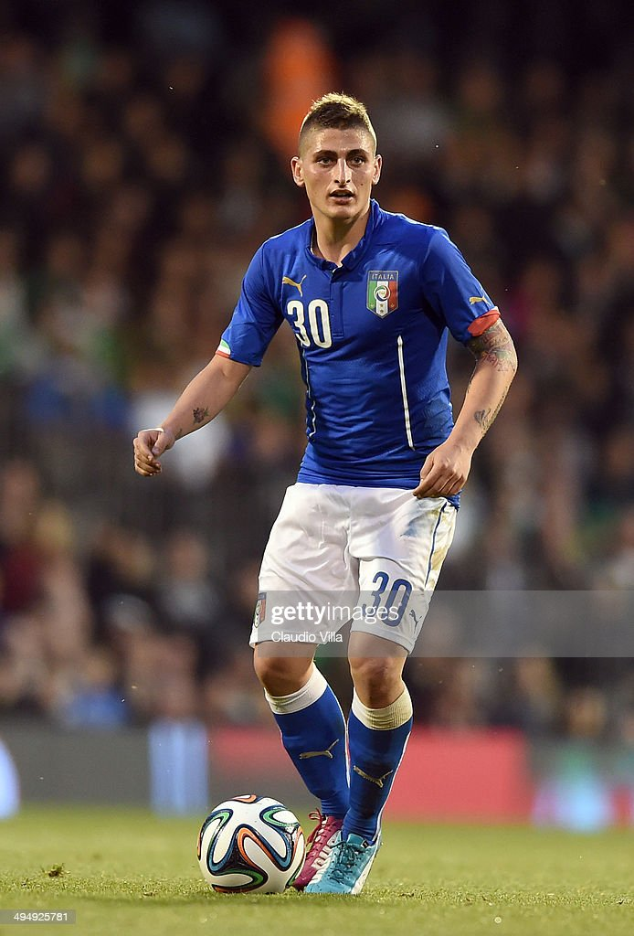 Marco Verratti of Italy in action during the International Friendly match between Italy and Ireland at Craven Cottage on May 30, 2014 in London, England.