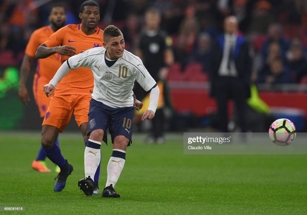 Marco Verratti of Italy in action during the international friendly match between Netherlands and Italy at Amsterdam Arena on March 28, 2017 in Amsterdam, Netherlands.