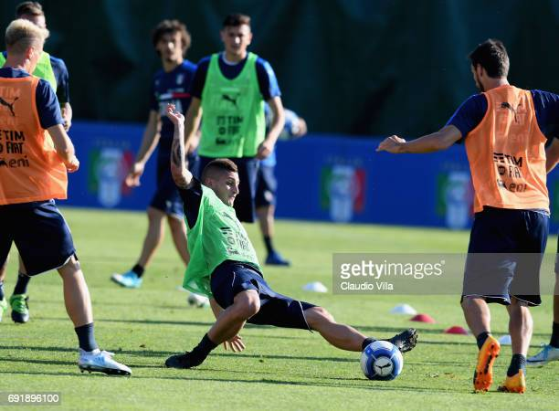 Marco Verratti of Italy in action during the training session at Coverciano at Coverciano on June 03 2017 in Florence Italy