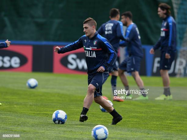 Marco Verratti of Italy in action during the training session at the club's training ground at Coverciano on March 21 2017 in Florence Italy