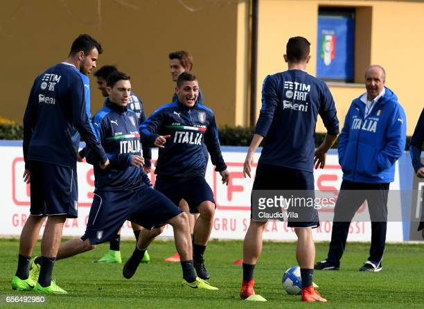 Marco Verratti of Italy in action during the training session at the club's training ground at Coverciano on March 22 2017 in Florence Italy