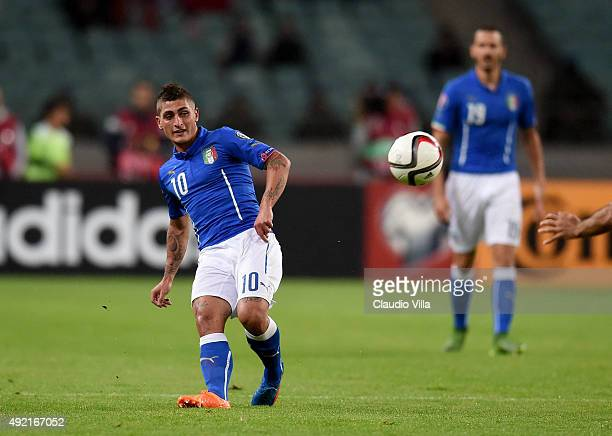 Marco Verratti of Italy in action during the UEFA Euro 2016 qualifying football match between Azerbaijan and Italy at Olympic Stadium on October 10...