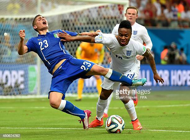 Marco Verratti of Italy is challenged by Raheem Sterling of England during the 2014 FIFA World Cup Brazil Group D match between England and Italy at...