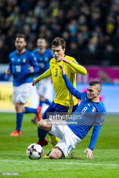 Marco Verratti of Italy keeps the ball away from Victor Nilsson Lindelof of Sweden during the FIFA 2018 World Cup Qualifier PlayOff First Leg between...