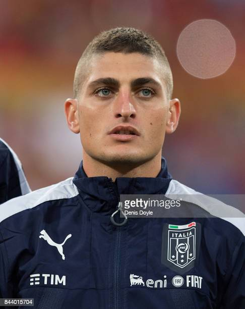 Marco Verratti of Italy linesup for the FIFA 2018 World Cup Qualifier between Spain and Italy at Estadio Santiago Bernabeu on September 2 2017 in...