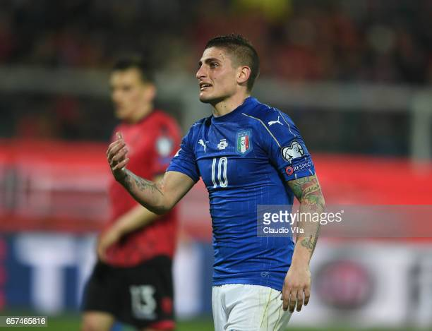 Marco Verratti of Italy looks on during the FIFA 2018 World Cup Qualifier between Italy and Albania at Stadio Renzo Barbera on March 24 2017 in...