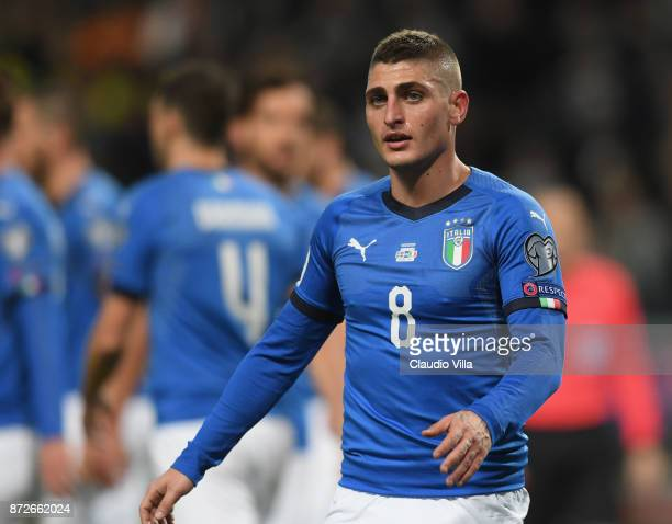 Marco Verratti of Italy looks on during the FIFA 2018 World Cup Qualifier PlayOff First Leg between Sweden and Italy at Friends Arena on November 10...