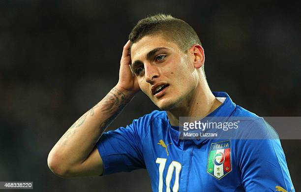 Marco Verratti of Italy looks on during the international friendly match between Italy and England at the Juventus Arena on March 31 2015 in Turin...