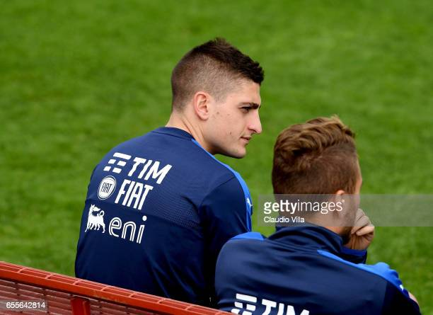 Marco Verratti of Italy looks on during the training session at the club's training ground at Coverciano on March 20 2017 in Florence Italy