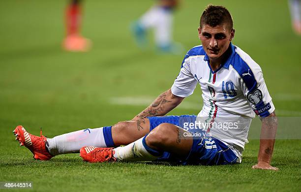 Marco Verratti of Italy looks on during the UEFA EURO 2016 qualifier between Italy and Malta on September 3 2015 in Florence Italy