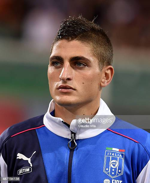 Marco Verratti of Italy poses prior to the UEFA EURO 2016 Qualifier match between Italy and Bulgaria on September 6 2015 in Palermo Italy