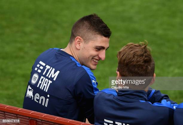 Marco Verratti of Italy smiles during the training session at the club's training ground at Coverciano on March 20 2017 in Florence Italy