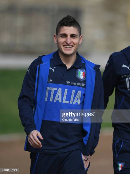 Marco Verratti of Italy smiles prior to the training session at the club's training ground at Coverciano on March 21 2017 in Florence Italy