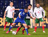 Marco Verratti of Italy vies with Ivelin Popov of Bulgaria during the Euro 2016 Qualifier match between Bulgaria and Italy at Vasil Levski National...