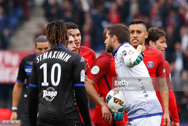 Marco Verratti of Paris Saint Germain and Jean Louis Leca of Bastia complains after the goal during the French Ligue 1 match between Paris Saint...