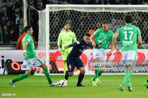 Marco Verratti of Paris Saint Germain during the Ligue 1 match between AS Saint Etienne and Paris Saint Germain PSG at Stade GeoffroyGuichard on May...