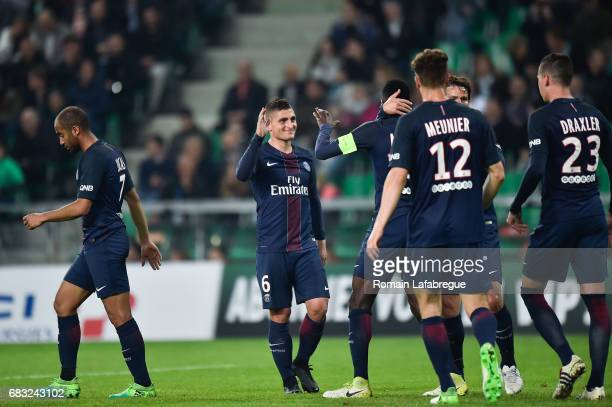 Marco Verratti of Paris Saint Germain during the Ligue 1 match between AS Saint Etienne and Paris Saint Germain Saint Germain PSG at Stade...