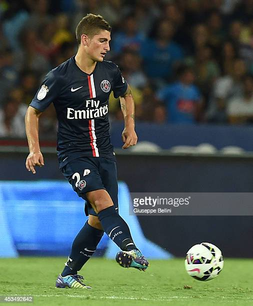 Marco Verratti of Paris Saint Germain in action during the preseason friendly match between SSC Napoli and Paris SaintGermain FC at Stadio San Paolo...