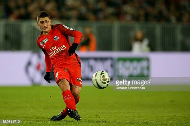 Marco Verratti of Paris Saint Germain in action during the Semi Final League Cup match between Bordeaux and Paris Saint Germain at Stade Matmut...